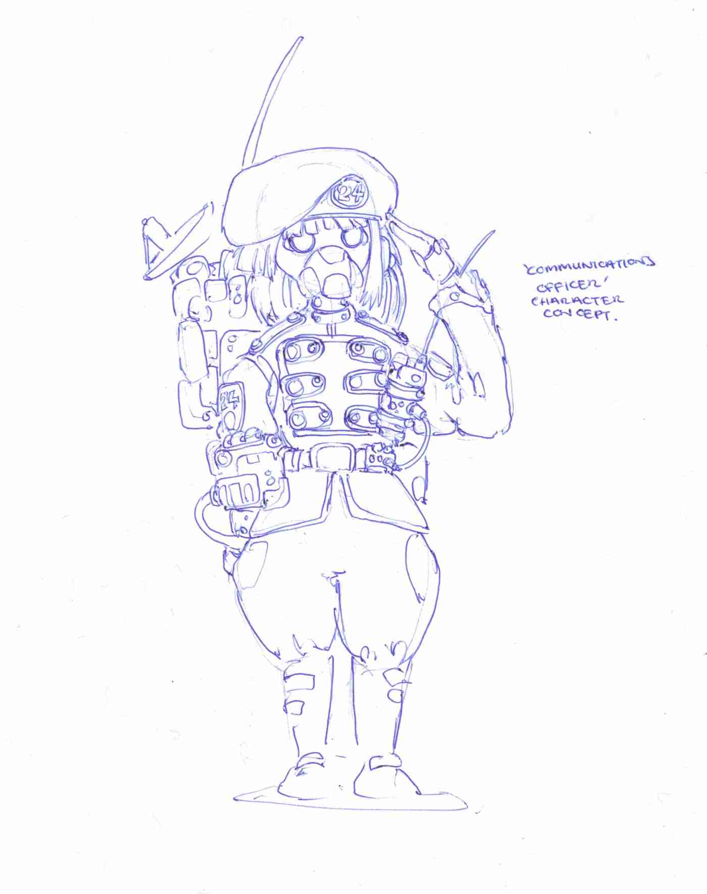 Character concept sketch, communications officer