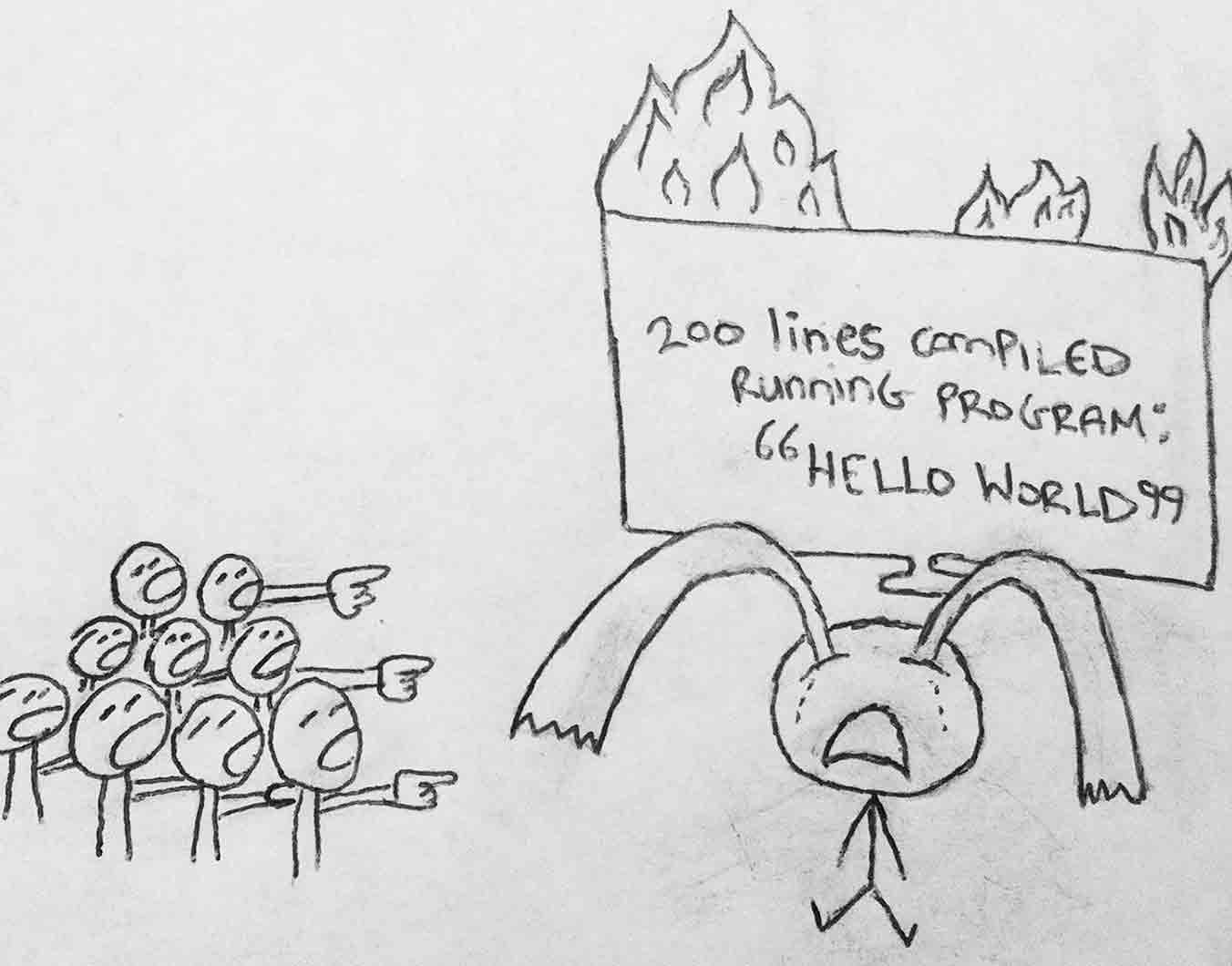 The second panel from this comic strip. Our hero cries while a crowd point and laugh as his hello world program goes up in flames behind him.