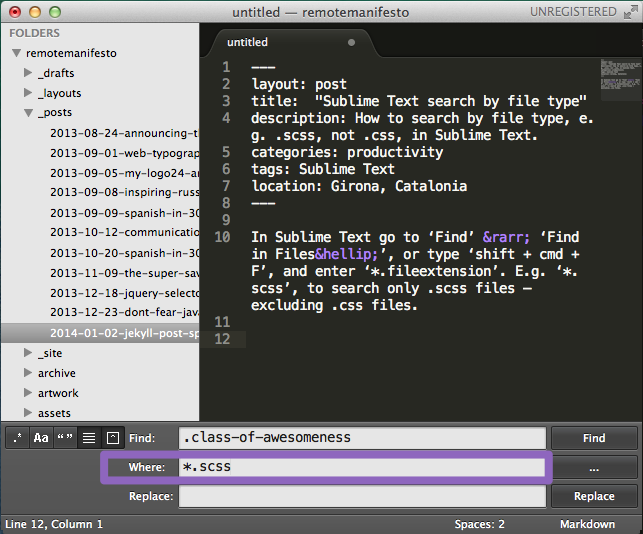 Screenshot of Sublime Text 2, showing searching by a specific file type, specifically *.scss