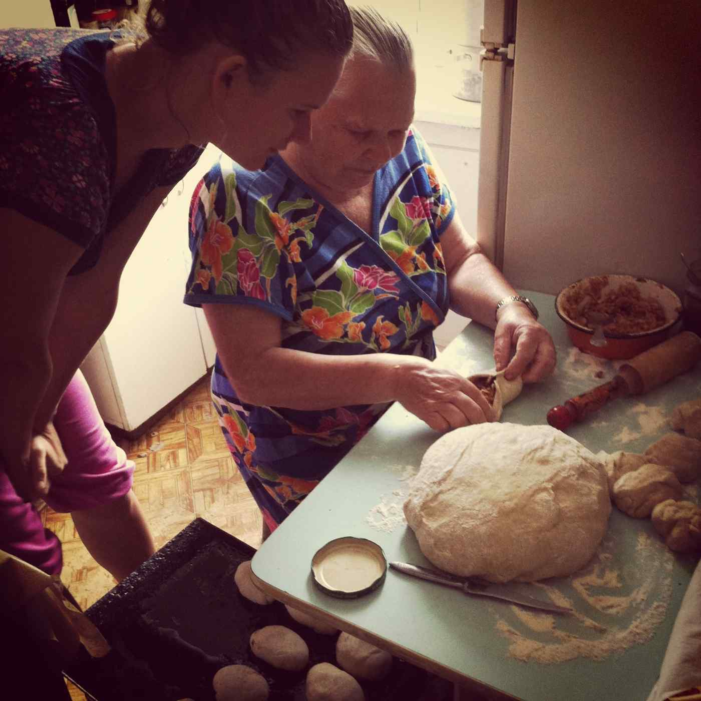 Lidiya's grandmother, Lida, baking her infamous piroshki